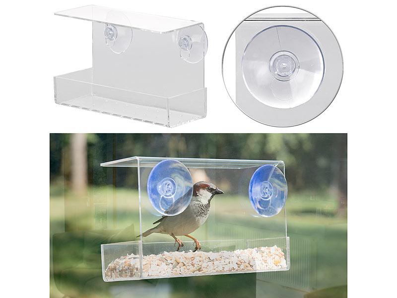 Vogel-Futterhaus aus Acryl mit 2 Futtersilos Saugnapf-Befestigung