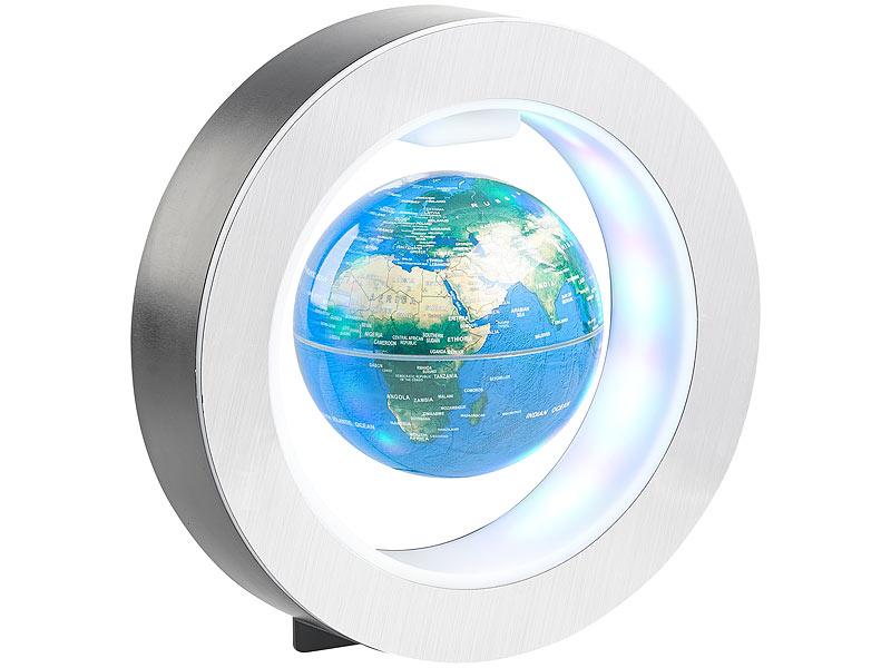 infactory weltkugel freischwebender 10 cm globus in magnet ring mit bunter led beleuchtung. Black Bedroom Furniture Sets. Home Design Ideas