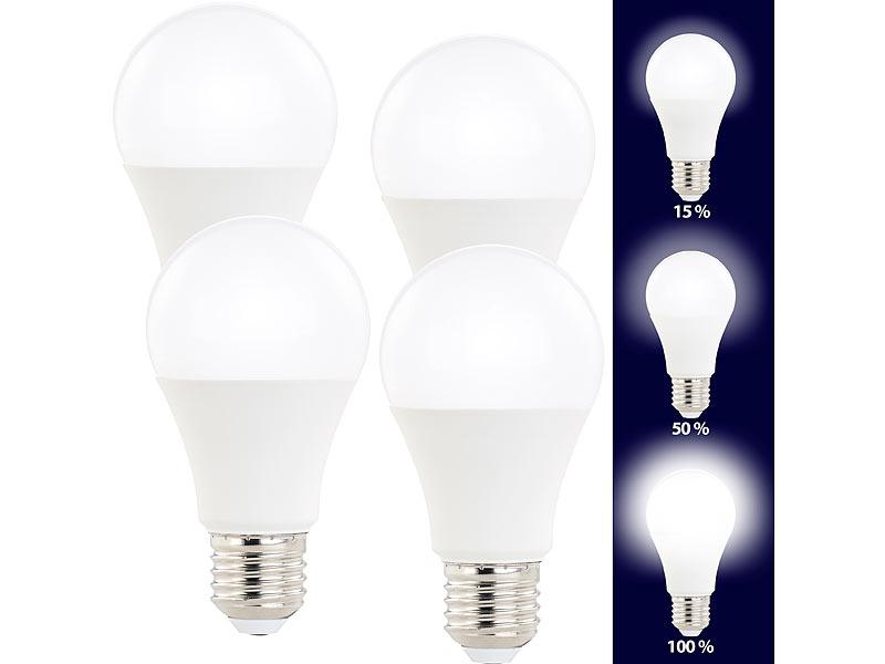 luminea led bulb e27 4er set led lampen 3 helligkeits stufen 10w 810lm e27 2700k a60 e27. Black Bedroom Furniture Sets. Home Design Ideas