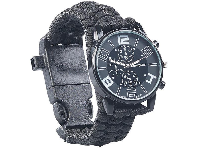 semptec outdoor uhr 5in1 armbanduhr mit paracordband feuerstahl kompass notfallpfeife. Black Bedroom Furniture Sets. Home Design Ideas