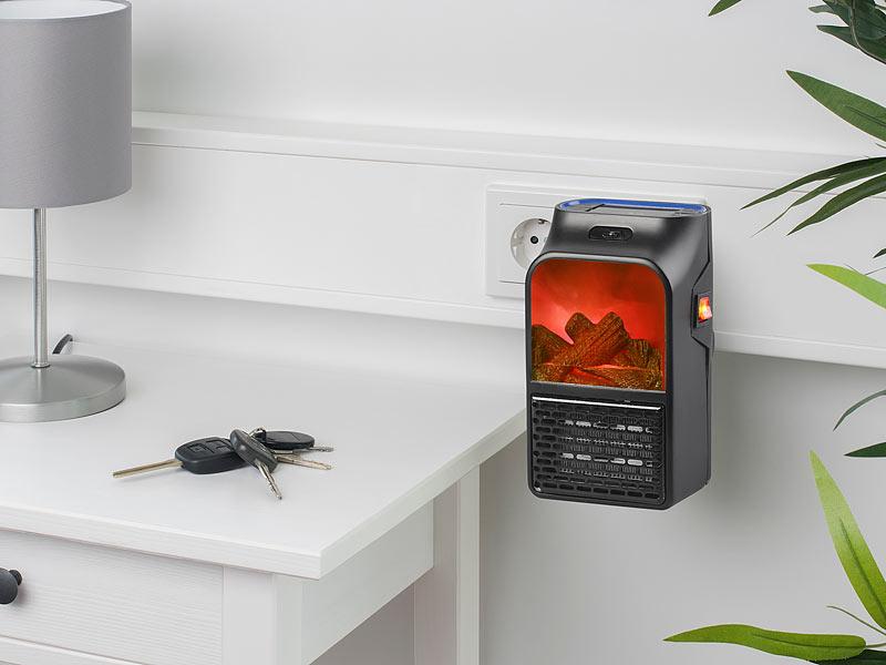 sichler mini heizung steckdosen heizl fter mit kaminfeuer effekt und fernbedienung 500 w mini. Black Bedroom Furniture Sets. Home Design Ideas