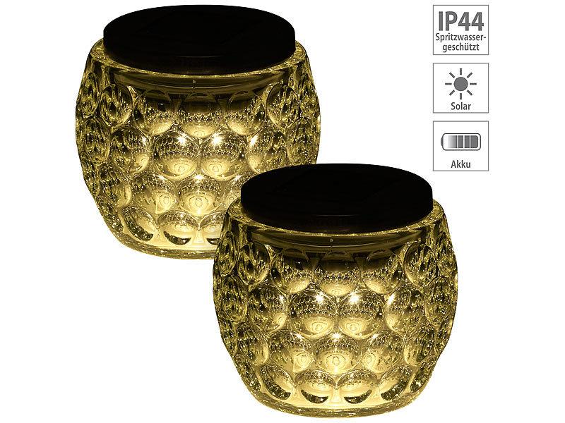 lunartec solar lampen ohne kabel solar led windlicht glas tolles lichtmuster ip44 10 cm. Black Bedroom Furniture Sets. Home Design Ideas