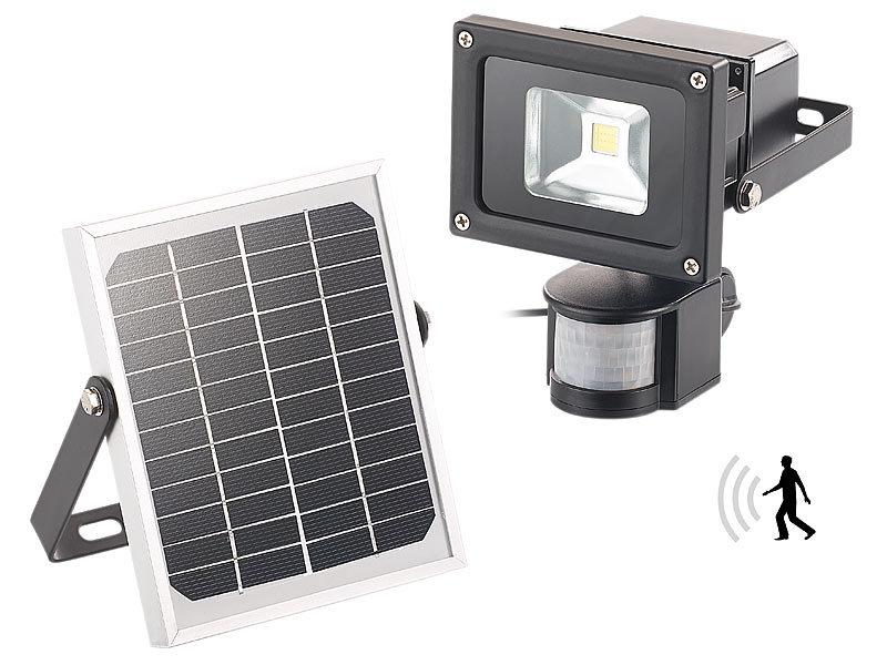 luminea cob led solar wandstrahler mit pir bewegungssensor 10 watt 600 lumen. Black Bedroom Furniture Sets. Home Design Ideas