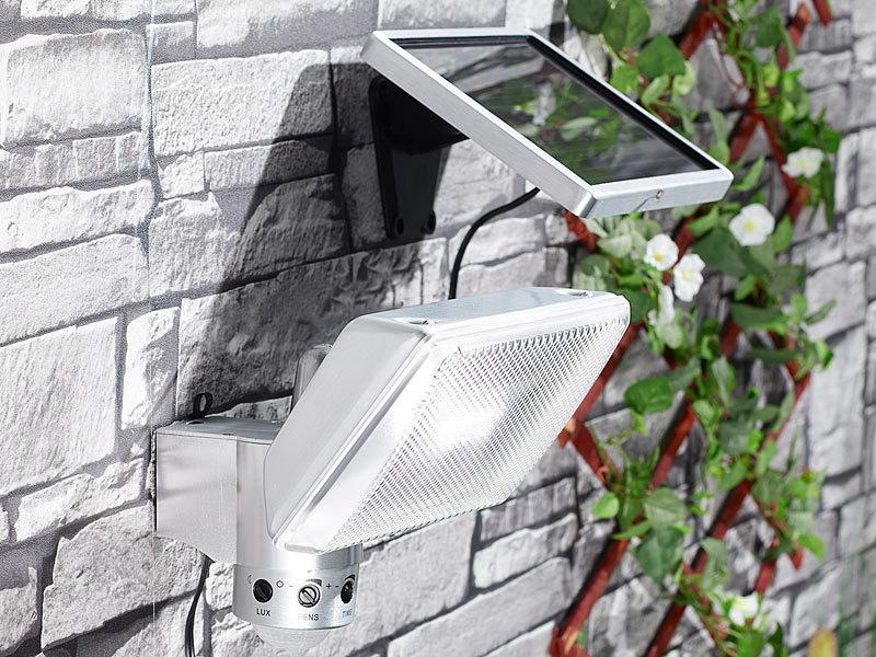 luminea led fluter aluminium ip44 mit bewegungssensor und solarpanel. Black Bedroom Furniture Sets. Home Design Ideas