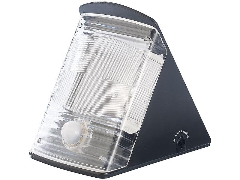 luminea wandleuchte ohne strom led solar wandleuchte 2x led ip44 pir sensor schwarz led. Black Bedroom Furniture Sets. Home Design Ideas