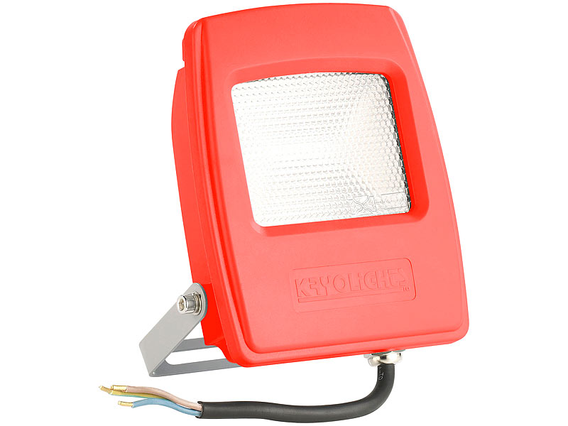 Wetterfester LED-Fluter in Rot, 10W, IP65, Warmweiss