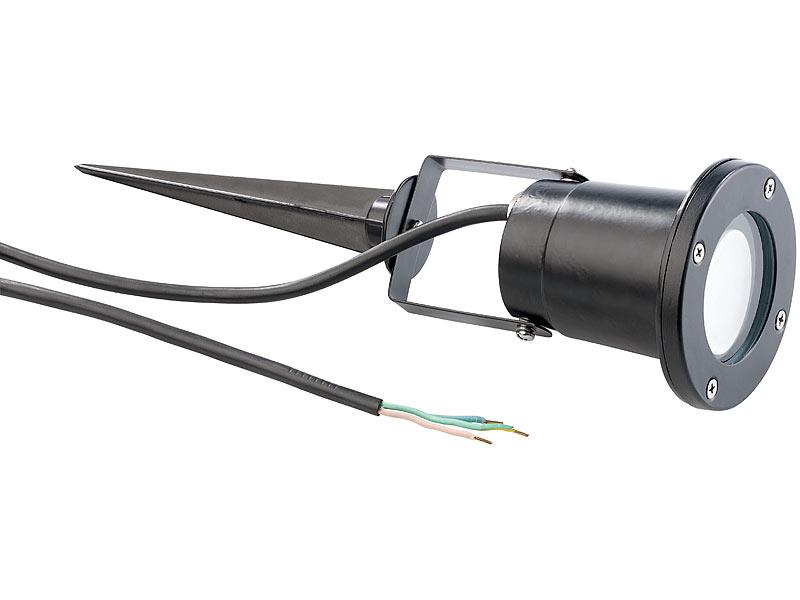 luminea gartenspots indoor pflanzenstrahler einflammig gu10 schwarz 1 5m kabel gartenlampe. Black Bedroom Furniture Sets. Home Design Ideas