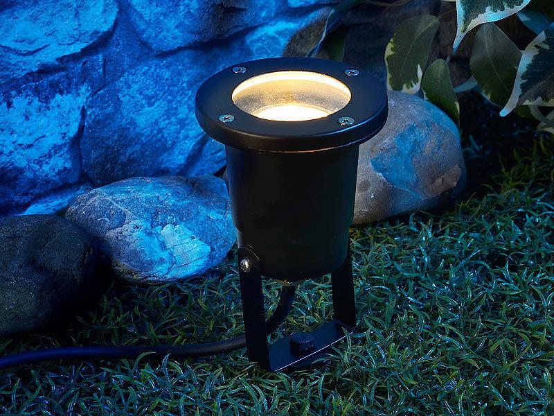 Luminea gartenspots indoor pflanzenstrahler einflammig gu10 schwarz 1 5m kabel gartenlampe - Bodenstrahler wohnzimmer ...