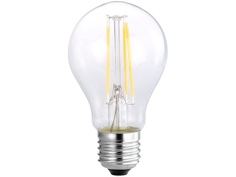 Luminea LED-Filament-Birne, A60, A++, E27, 7 W, 810 lm, 270°, 3000 K