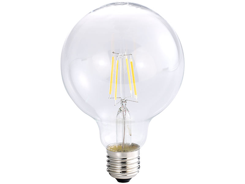 Luminea LED Filament Globe: LED Filament Globelampe, G95, A++, E27, 6 Watt,  600 Lm, 360°, 3000 K
