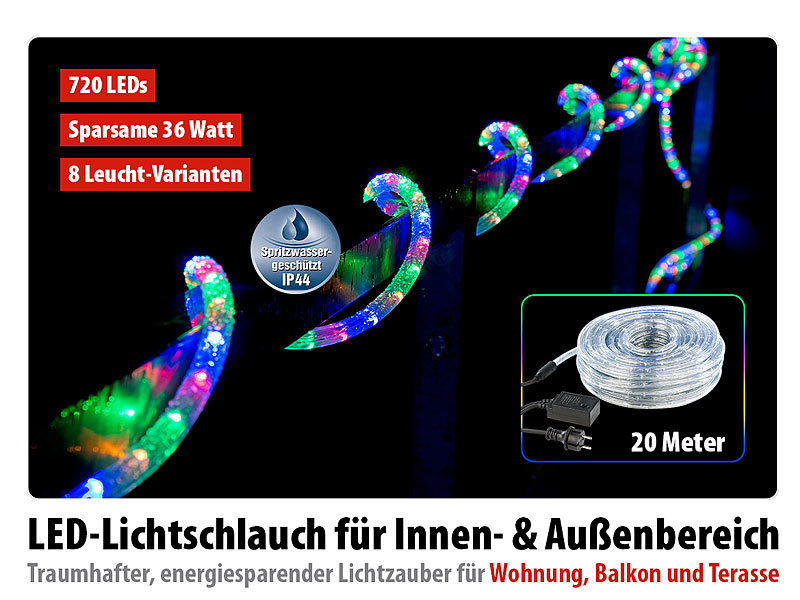 lunartec led schlauch led lichtschlauch innen au enbereich 720 leds 20 m farbig ip44. Black Bedroom Furniture Sets. Home Design Ideas