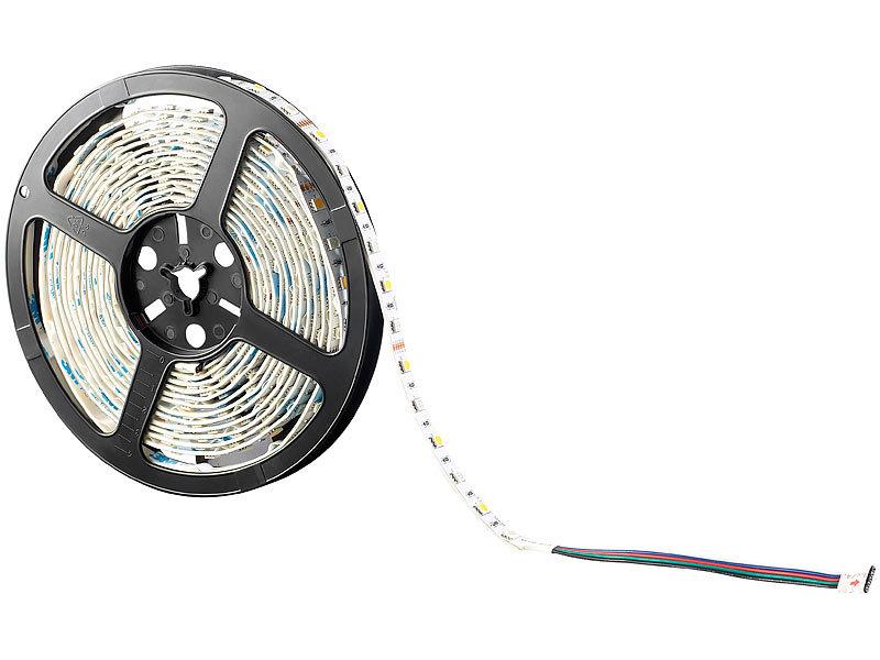 lunartec deko schrankleuchten led streifen lx 500n 5 m rgbw innen netzteil fernbed led. Black Bedroom Furniture Sets. Home Design Ideas