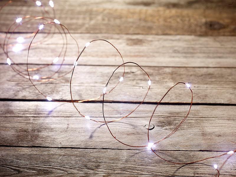 Lunartec LED Draht: LED-Lichterdraht mit 20 LEDs, weiß, 100 cm ...