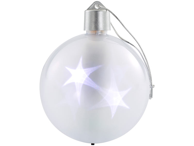 Lunartec Christbaumkugel: 2er-Set LED-Weihnachtskugeln mit 3D-Effekt ...