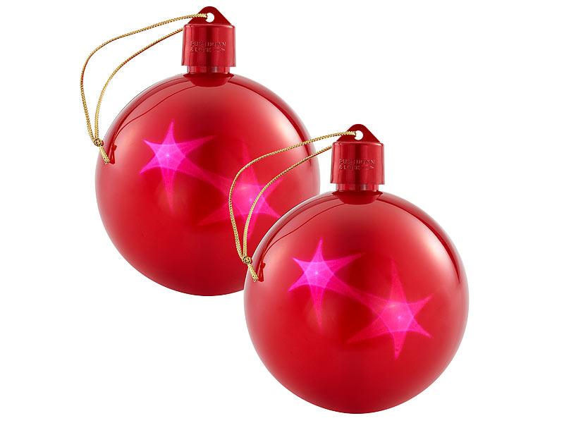 Led Weihnachtskugeln.Lunartec Weihnachtsschmuck 2er Set Led Weihnachtskugeln Mit 3d