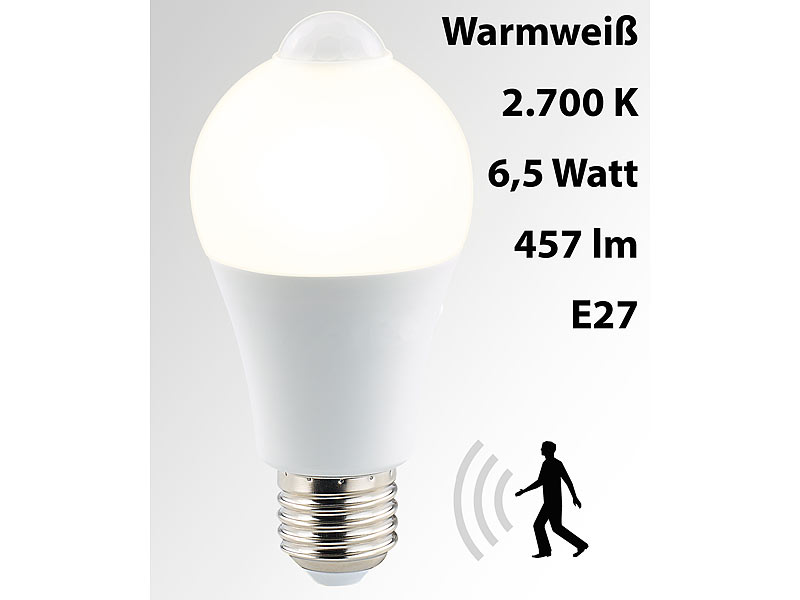 luminea led lampe mit pir sensor 6 5 watt e27 warmwei. Black Bedroom Furniture Sets. Home Design Ideas