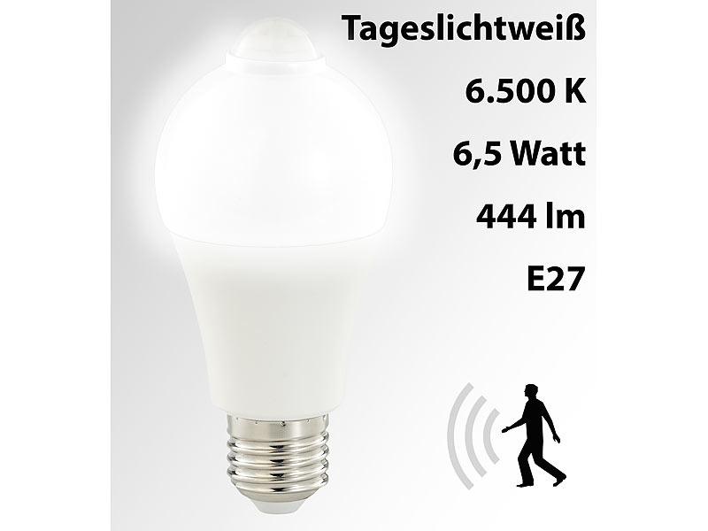 luminea lampe bewegungsmelder led lampe pir sensor 6 5 w e27 tageslichtwei 6500 k 444. Black Bedroom Furniture Sets. Home Design Ideas