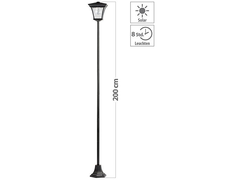 lunartec solar led gartenleuchte mit 200 cm lampenmast 15 lumen. Black Bedroom Furniture Sets. Home Design Ideas