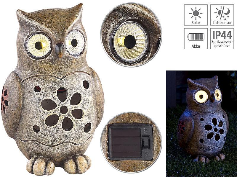 Lunartec Solar Figuren: Deko Eule mit leuchtenden LED Augen