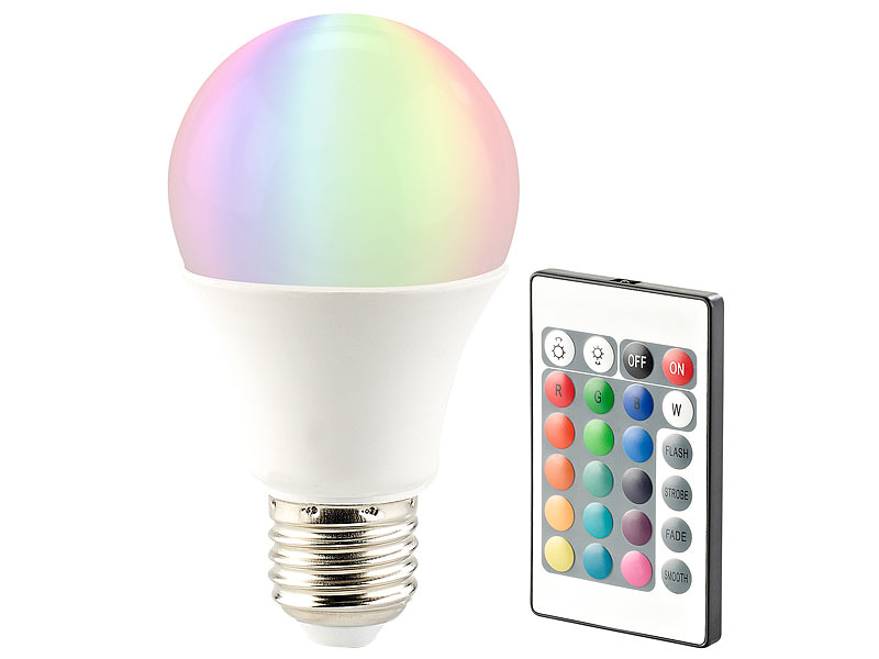 Luminea LED-Lampe in RGB + Warmweiß, E27, 10 Watt, Fernbedienung ...