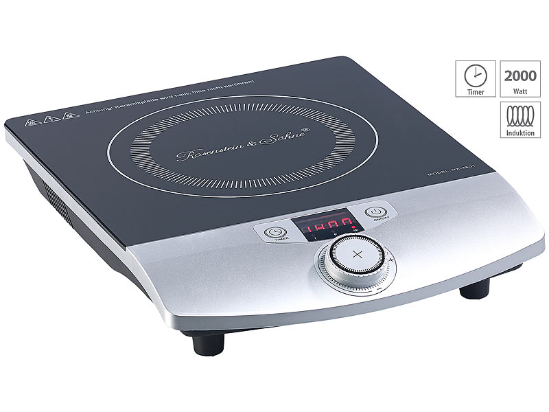 2.000 W bis 200 °C Induktions-Kochplatte 12 bis 26 cm LCD Drehregler