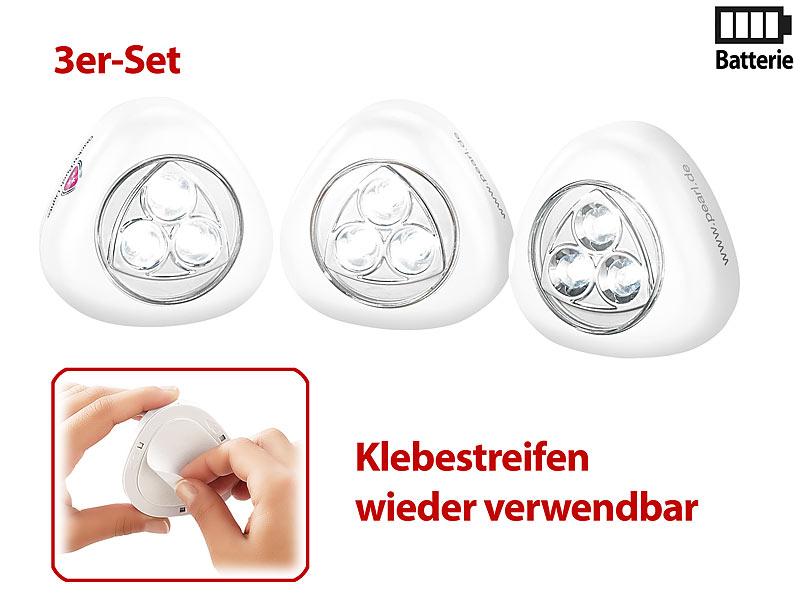 Pearl Schranklichter Stick Push Light Mit 3 Weissen Leds 3er Set