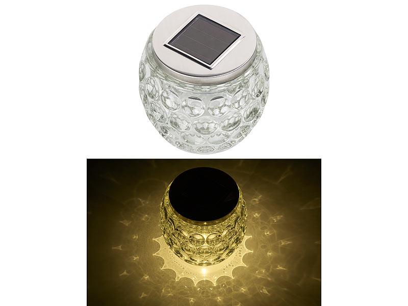 lunartec deko solarlampe solar led windlicht aus glas. Black Bedroom Furniture Sets. Home Design Ideas