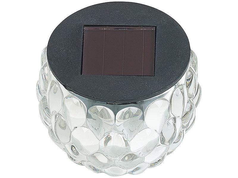 lunartec solar lampen ohne kabel 2er set solar led windlichter aus glas mit lichtmuster ip44. Black Bedroom Furniture Sets. Home Design Ideas