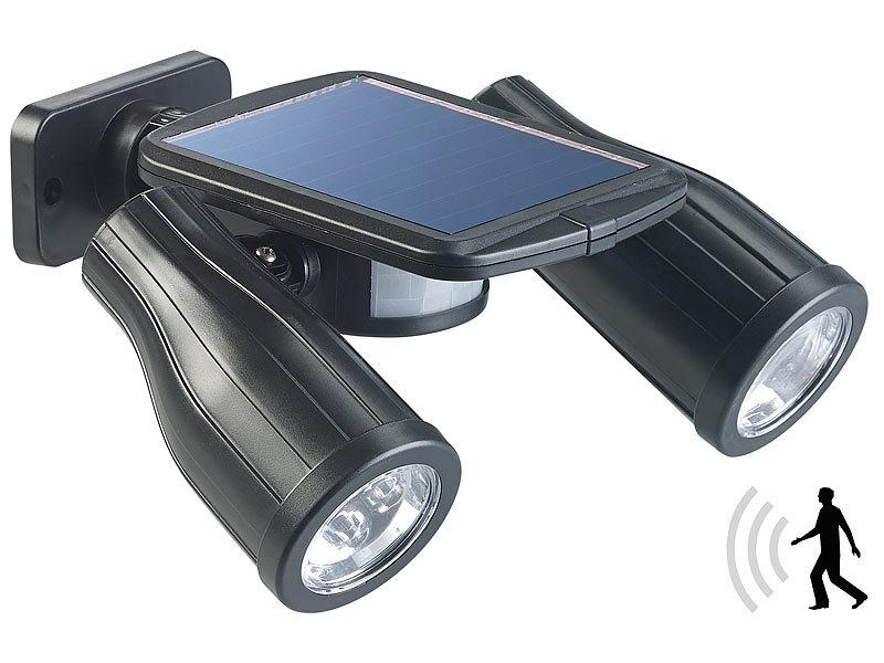 lunartec solar bewegungsmelder solar strahler mit 2 led lampen und pir sensor ip44 led solar. Black Bedroom Furniture Sets. Home Design Ideas
