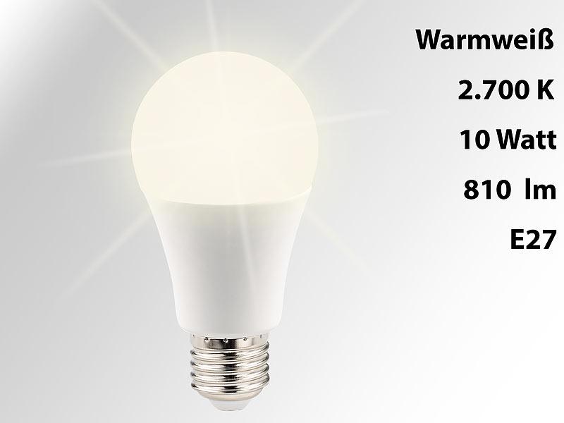 Luminea LED-Glühlampen E27: Lichtstarke LED-Lampe, E27, 10 W, 810 lm ...