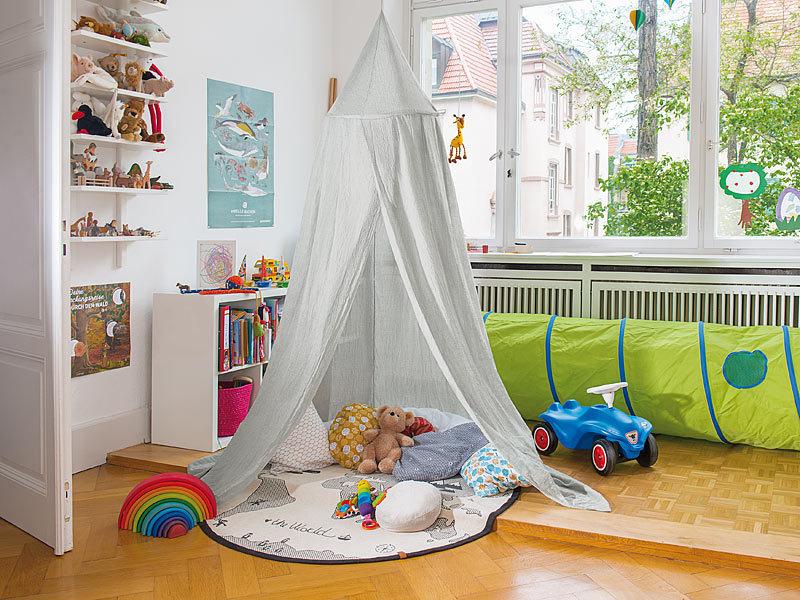infactory baldachin kinder betthimmel mit insektenschutz grau zusammenfaltbar himmelbett. Black Bedroom Furniture Sets. Home Design Ideas