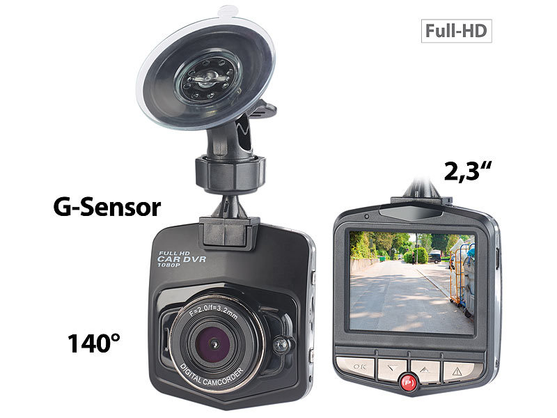 "Full-HD-Dashcam MDV-2750 mit G-Sensor, 2,3""-Display (5,8 cm)"