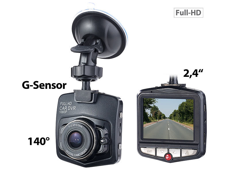 HD-Dashcam mit G-Sensor, Bewegungserkennung, 6,1-cm-Display, 140°