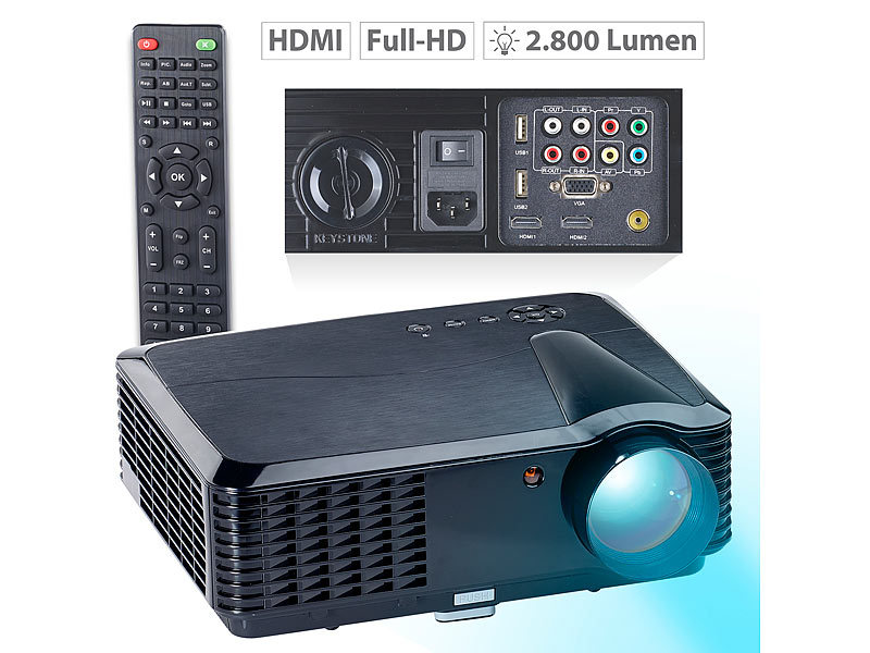 LED-LCD-Beamer LB-9300 V2 mit Media-Player, 1280 x 800 (HD), 2.800 lm