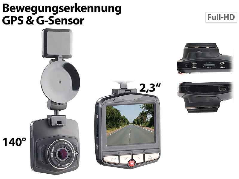 "Full-HD-Dashcam MDV-2770.gps mit GPS & G-Sensor, 5,8-cm-Display (2,3"")"