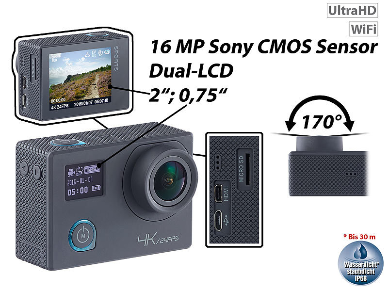 4K-Action-Cam für UHD-Videos mit 2 Displays & 16-MP-Sony-Sensor, IP68