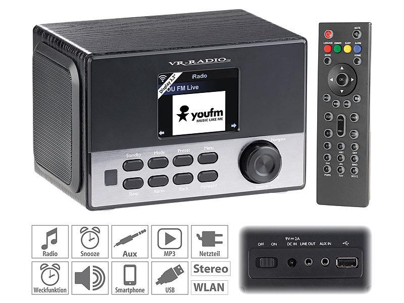vr radio wlan stereo internetradio dab wecker usb 20 w 8 1 cm display. Black Bedroom Furniture Sets. Home Design Ideas