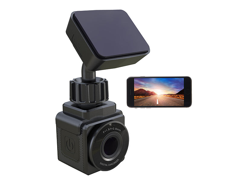WiFi-Mini-Dashcam, Full HD 1080p, G-Sensor, GPS, 155°-Weitwinkel, App