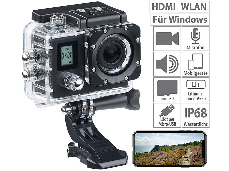Einsteiger-4K-Action-Cam mit 2 Displays, Full HD bei 60 B./Sek., IP68