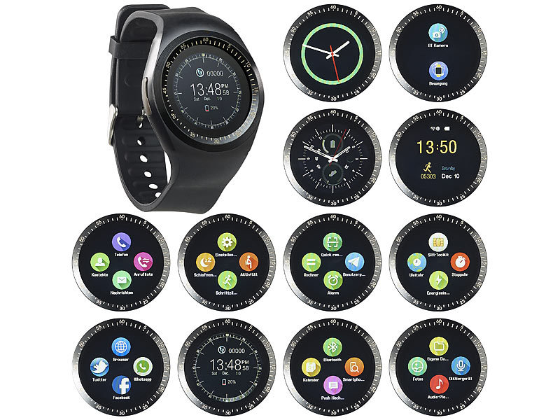 simvalley mobile smart uhr 2in1 uhren handy smartwatch. Black Bedroom Furniture Sets. Home Design Ideas