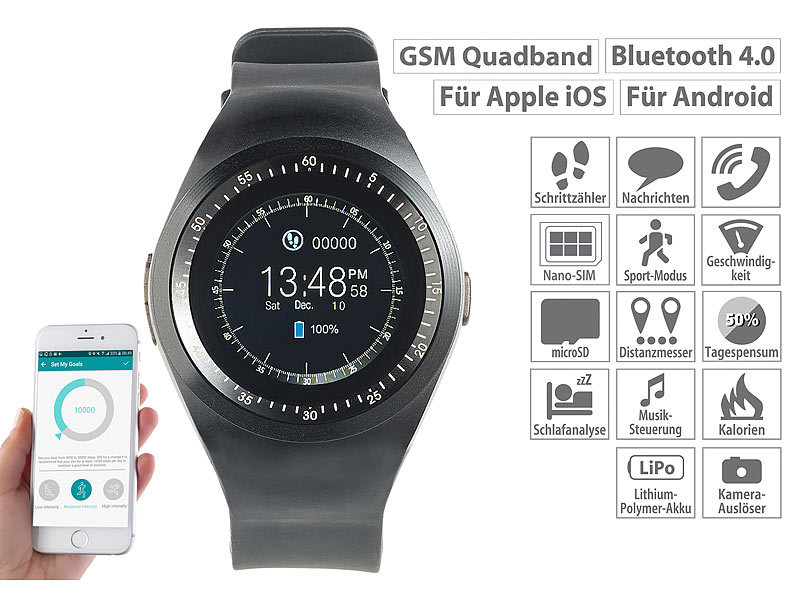2in1-Uhren-Handy & Smartwatch für iOS & Android, rundes Display