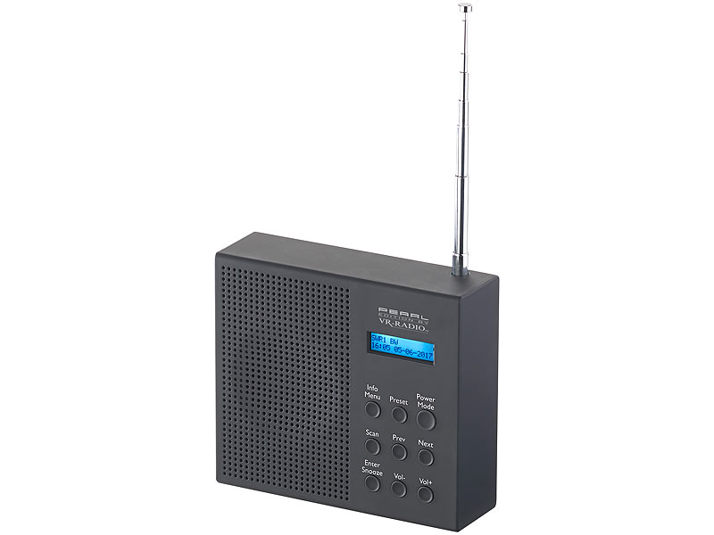 vr radio usb radio digitales dab fm radio mit akku dual wecker rds lcd display timer akku. Black Bedroom Furniture Sets. Home Design Ideas