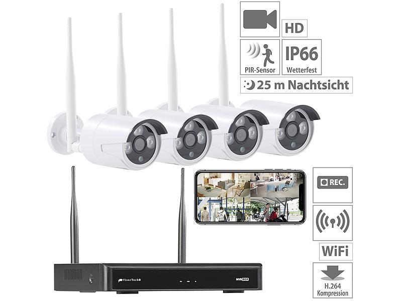 visortech berwachungskamera funk berwachungssystem hdd rekorder 4 ip kameras plug play. Black Bedroom Furniture Sets. Home Design Ideas