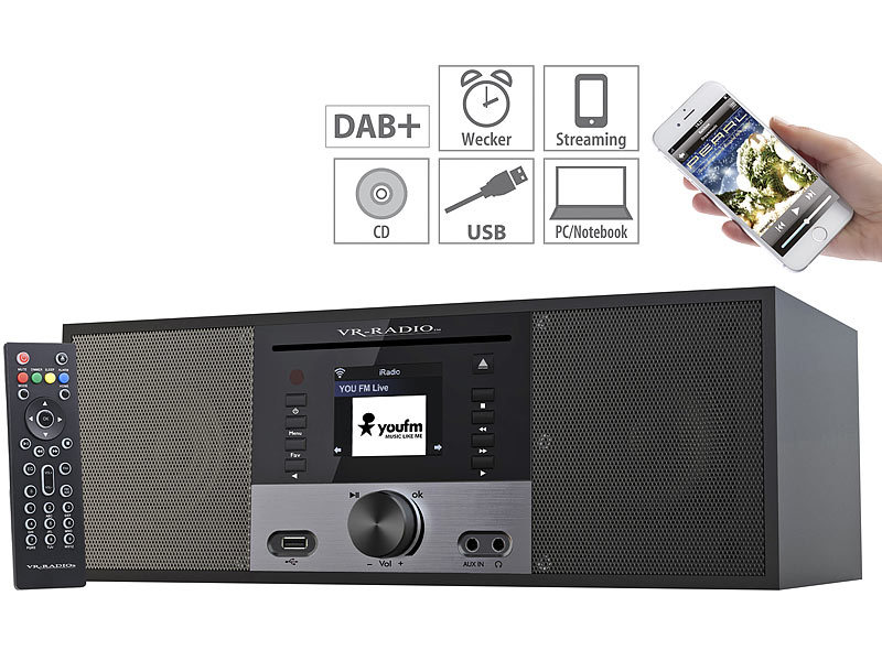 Stereo-Internetradio m. CD-Player, DAB+/FM, Farbdisplay, Wecker, 32 W