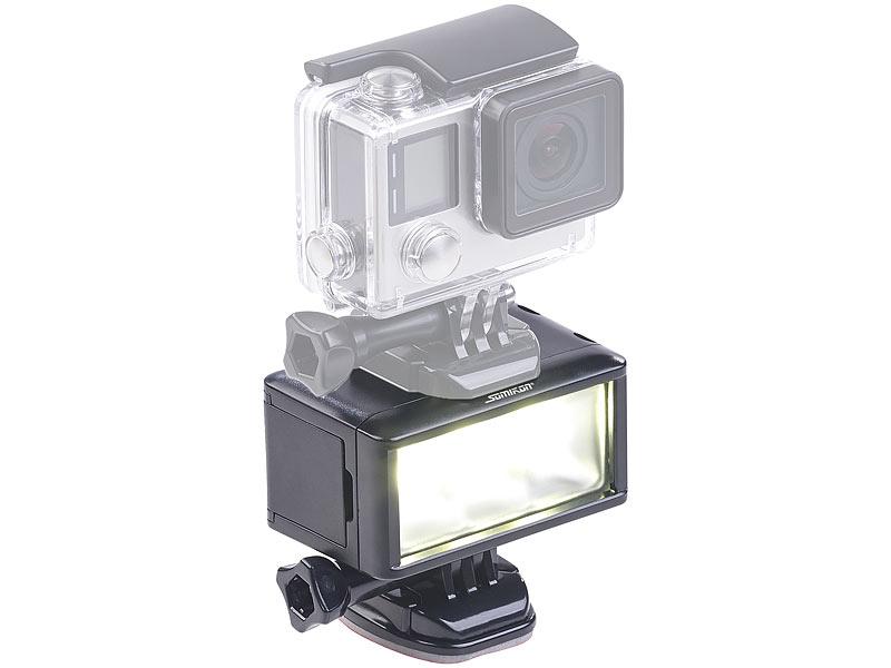 somikon kamera licht unterwasser led licht f r action cams 360 lm 3 w 900 mah akku ipx8. Black Bedroom Furniture Sets. Home Design Ideas