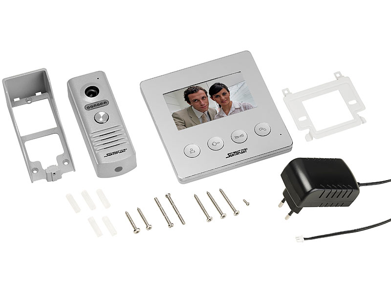 somikon video klingel video t rsprechanlage mit farbdisplay led licht t r ffnungsfunktion. Black Bedroom Furniture Sets. Home Design Ideas