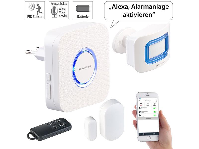 visortech hausalarm 4 teilige wlan alarmanlage alexa kompatibel f r bis 50 sensoren app. Black Bedroom Furniture Sets. Home Design Ideas