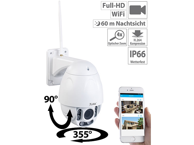 7links dome kamera speed dome outdoor wlan ip. Black Bedroom Furniture Sets. Home Design Ideas