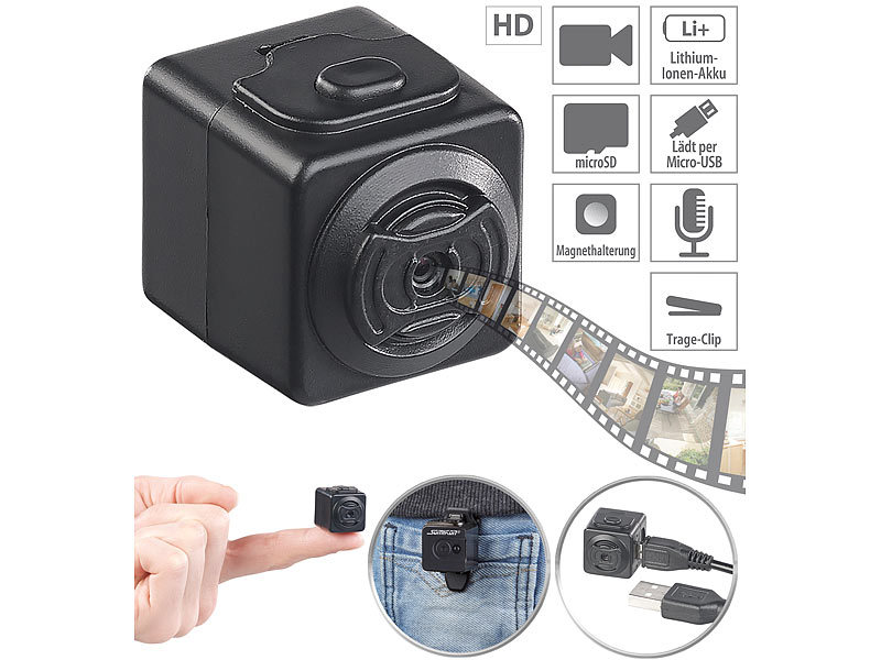 somikon mini camera ultrakompakte hd videokamera mit. Black Bedroom Furniture Sets. Home Design Ideas
