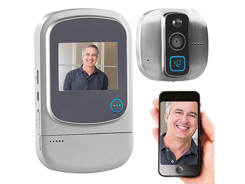 somikon t rspionkameras digitaler hd t rspion mit klingel bewegungsmelder wifi und app. Black Bedroom Furniture Sets. Home Design Ideas